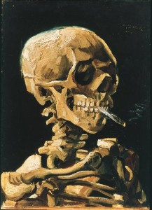 """Skull of a Skeleton with Burning Cigarette"" (1885), oil on canvas, Van Gogh Museum"