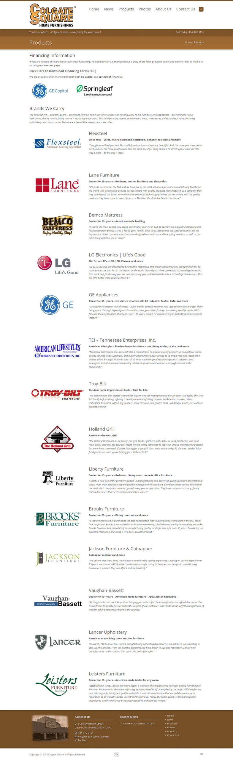 The Products page includes a list of the wide selection of product manufacturers featured at Colgate Square. Each logo is linked to their respective websites.