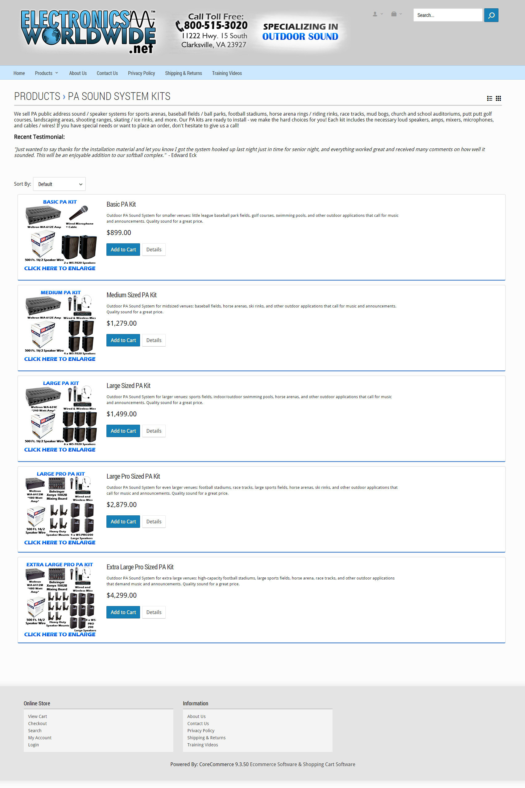 ElectronicsWorldwide.net - Outdoor PA Sound System Kits Page