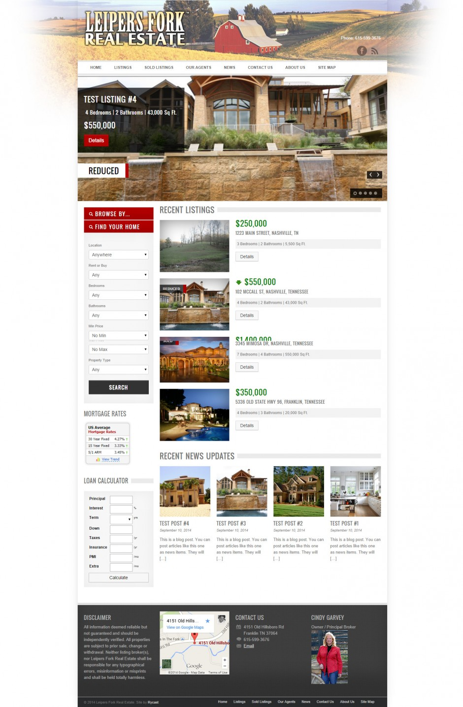 Leipers Fork Real Estate Home Page - This website was designed in Summer of 2014 for Cindy Garvey, by Ryan C. Stebbins.