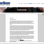 The testimonials page features an interactive PDF file that is viewable within the page.