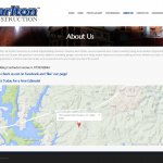 The About Us page features an interactive Google map.