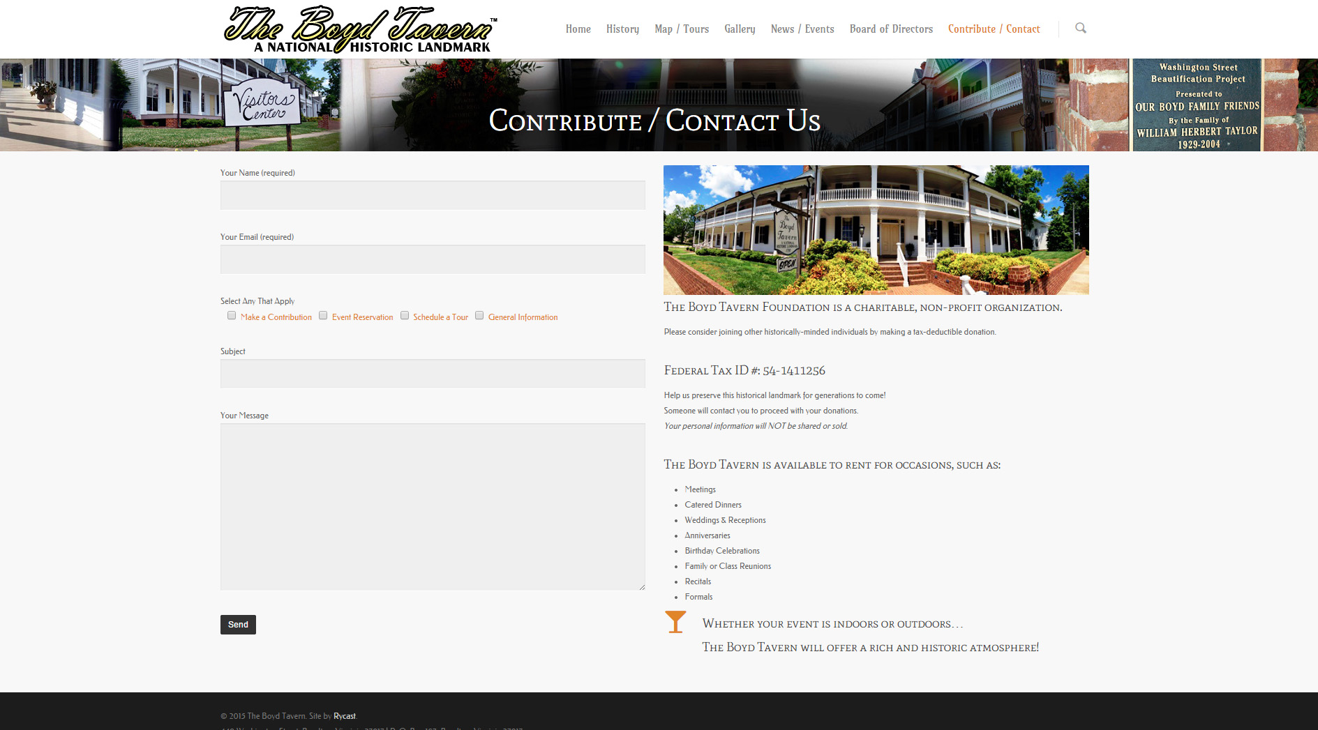 The contact us page features a fully-functional contact form.