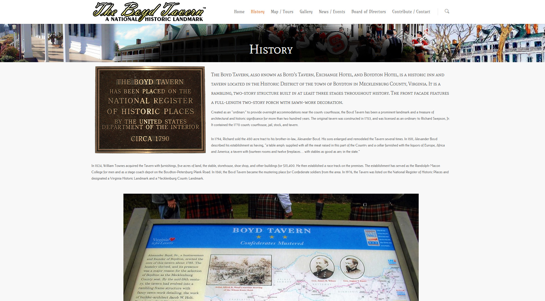 The history page details the history of the tavern, complete with photos from the descriptive panels at the tavern.