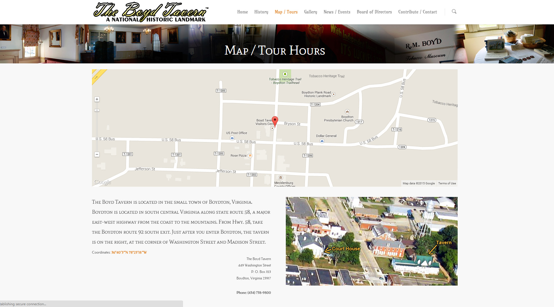 The map page features an interactive Google map.