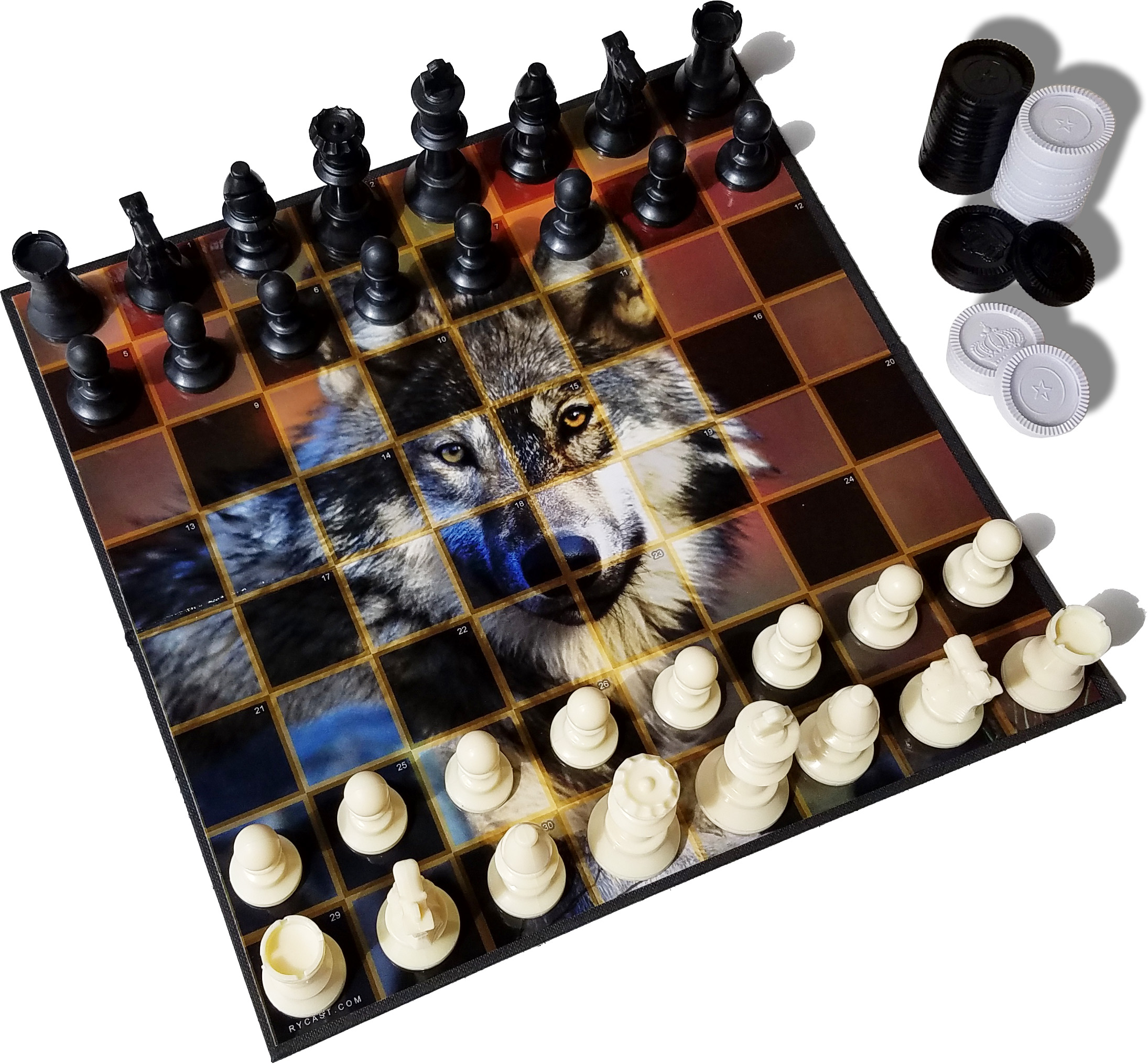 Chess and Checkers Set, Convenient Size, Premium Board, Wolf Themed