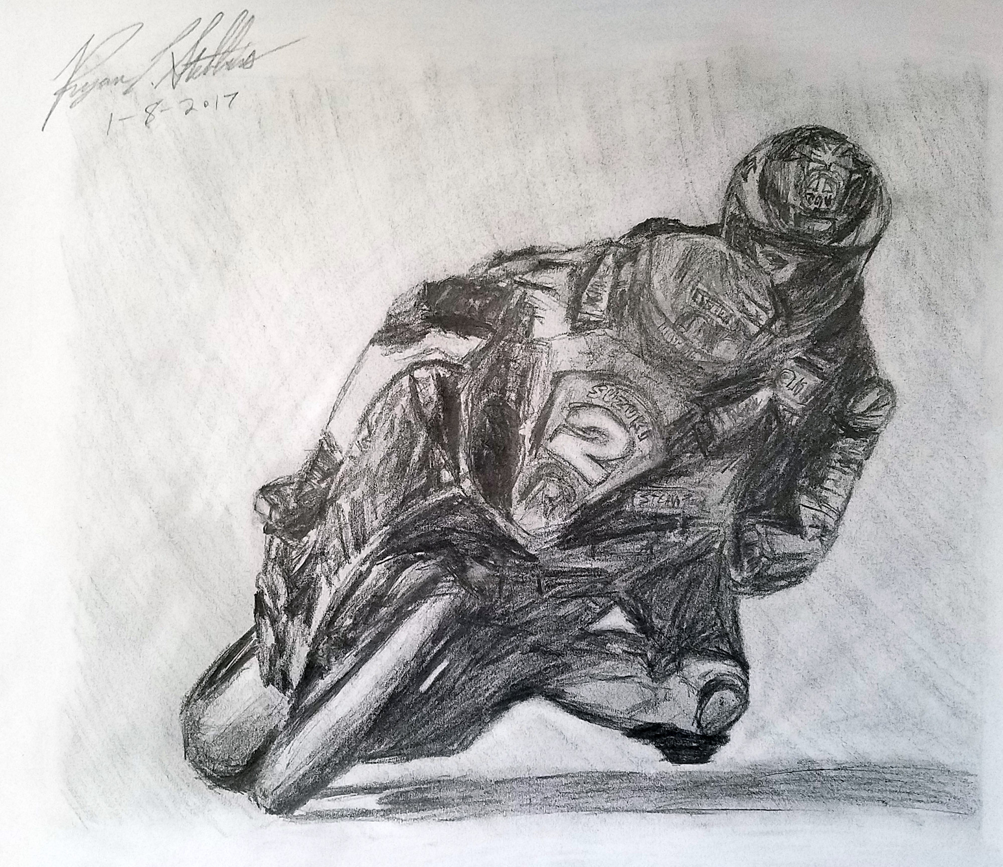 Guy Martin, Roadracer - Drawn in 2017 by Ryan C. Stebbins